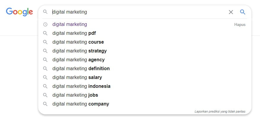 Contoh lsi di Gogle Search
