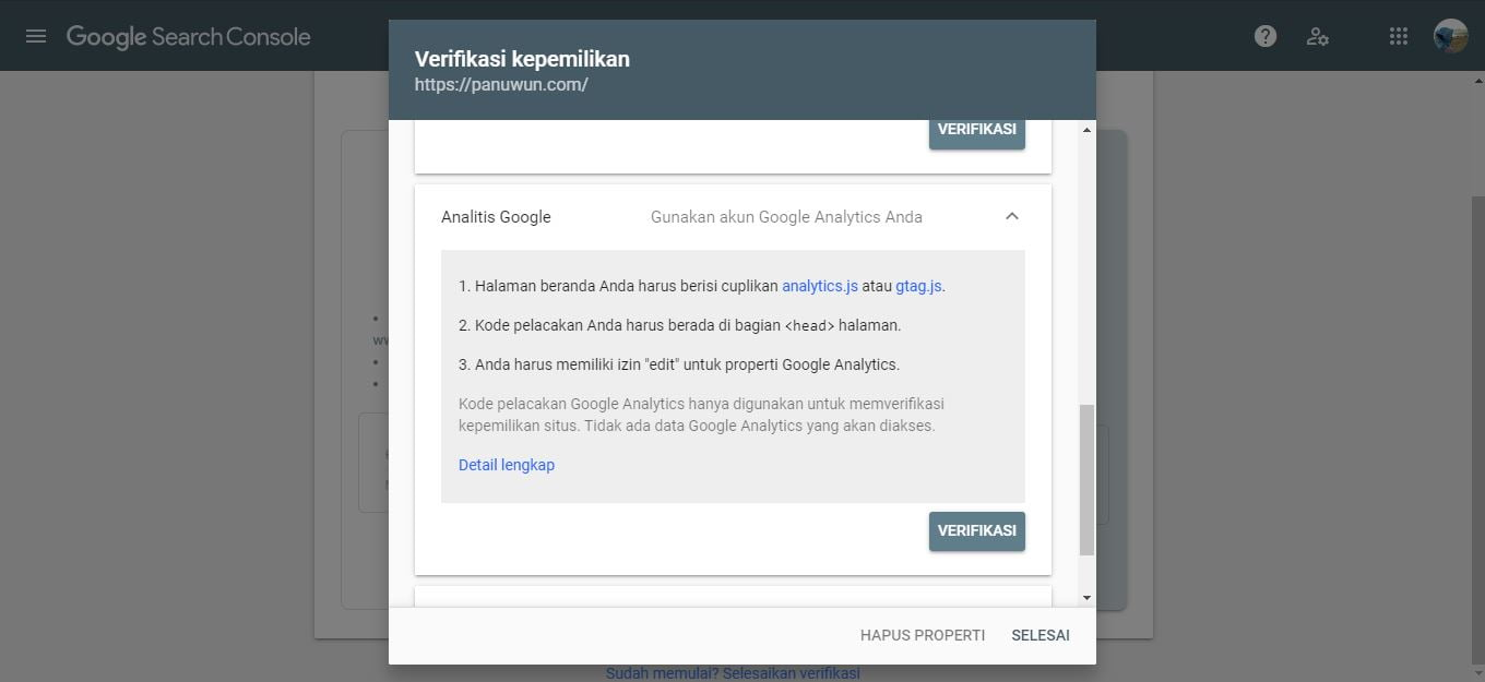 Verifikasi Google Analytics