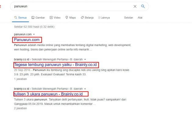 Contoh tags title