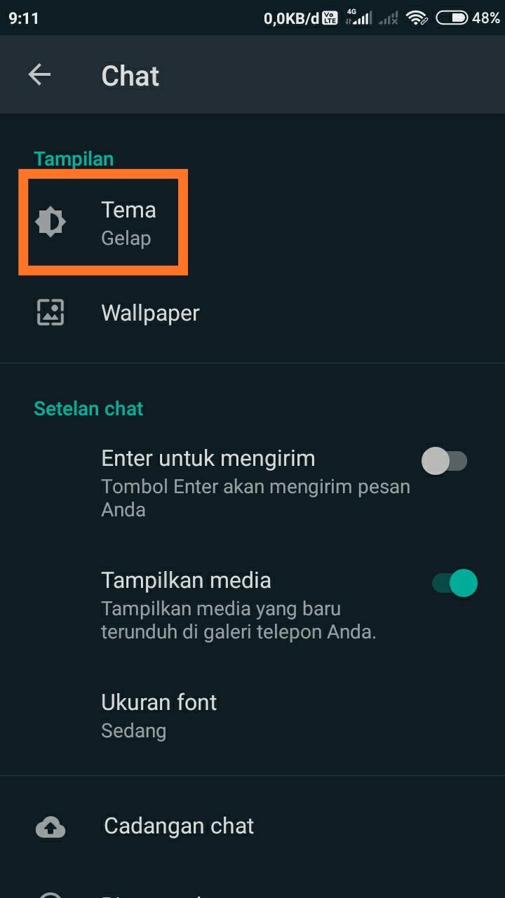 Cara membuat WhatsApp dark mode 2