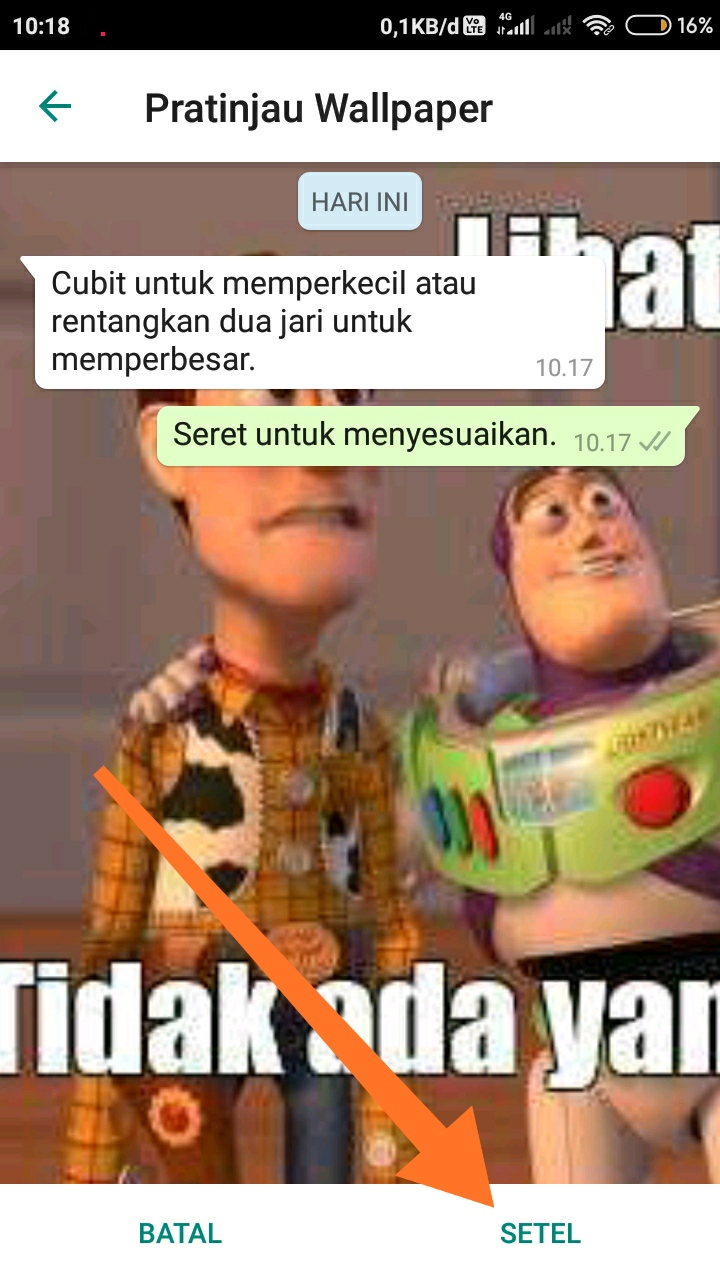 Cara mengganti background WhatsApp 5