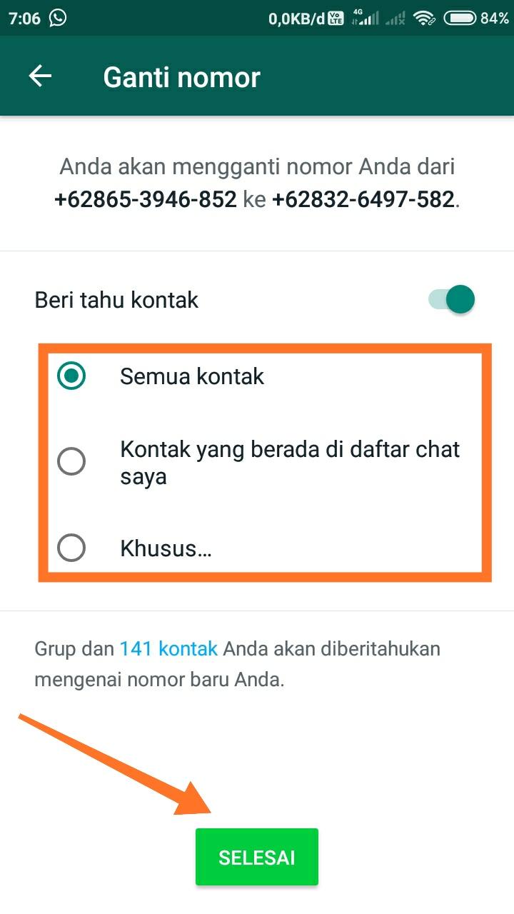 cara mengganti nomor whatsapp 18