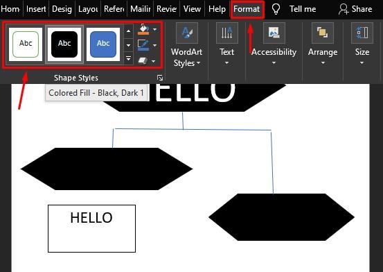 cara membuat flowchart di word memberi format 2