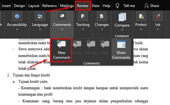 cara menghilangkan comment di word cara membuat comment di word 3
